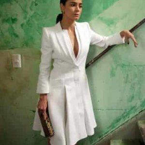 Queen of The South Teresa Mendoza White Coat Dress