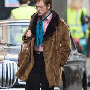 Rocketman Elton John Taron Egerton Brown Shearling Jacket