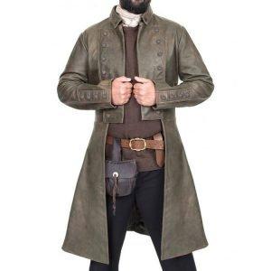 Sam Heughan TV Series Outlander S05 Jamie Fraser Leather Trench Coat