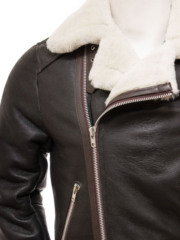 Shearling Brown Biker Leather Jackets For Mens