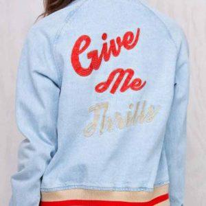 Somedays Lovin The Girlfriend Give Me Thrills Printed Varsity Jacket