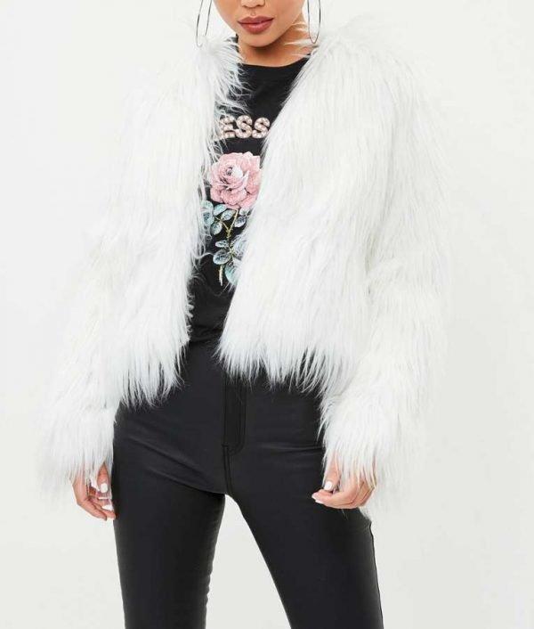 I Hate Suzie Billie Piper White Faux Fur Suzie Pickles Jacket