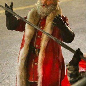 The Christmas Chronicles Santa Claus Red Leather Trench Coat