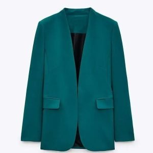 Kristin Fisher TV Show The Daily Briefing Teal Open Blazer