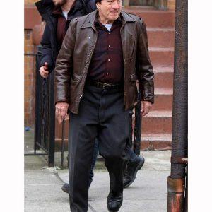 Robert DE Niro The Irishman Sheeran Brown leather Jacket For Men