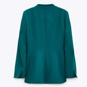 The Daily Briefing Kristin Fisher Teal Open Blazer