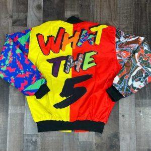 Retro What The 5s Multicolor Letterman Jacket
