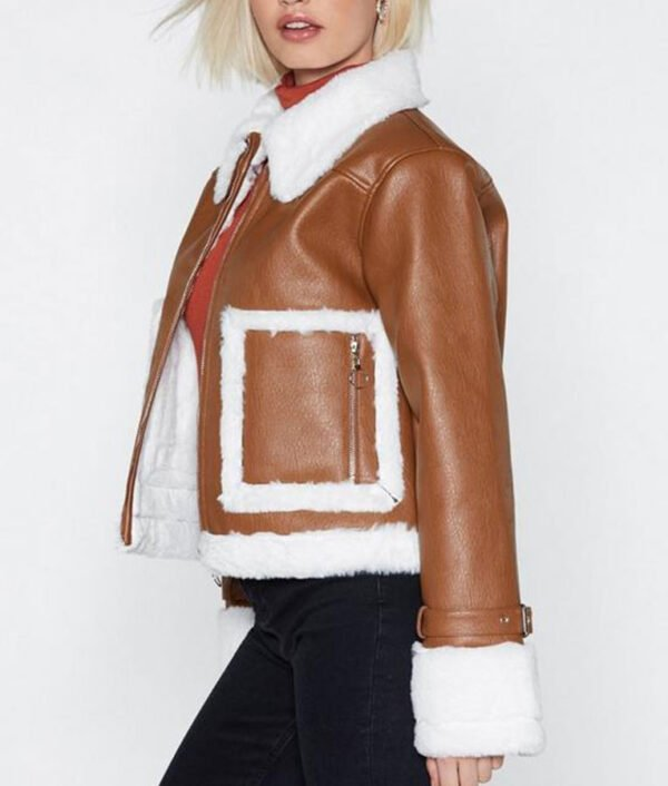 Brown Cropped Aviator Womens Leather Jacket – Hit Jacket