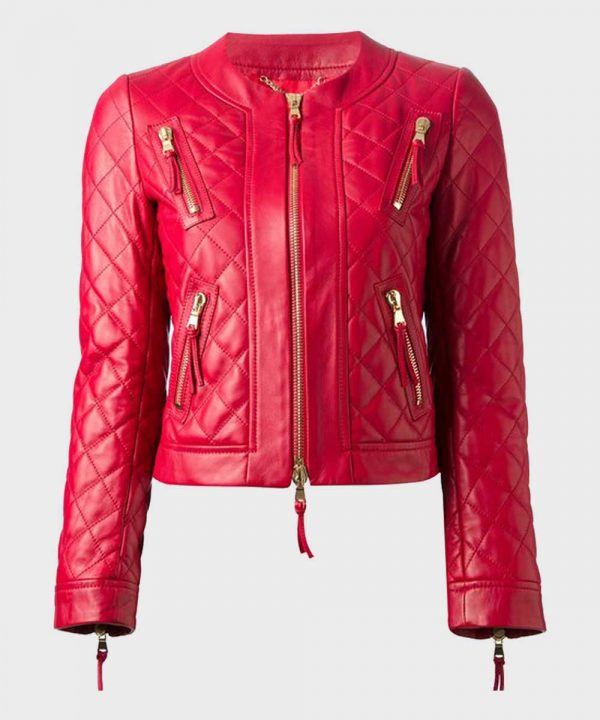 Red Quilted Biker Leather Jacket for Womens Best Womens Biker Jackets