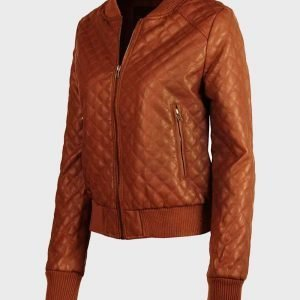 Tan Brown Quilted Sheepskin Fashion Leather Jacket for Womens