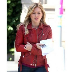 Hilary Duff Younger Kelsey Peters Red Biker Leather Jacket