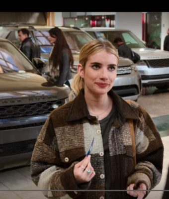 emma robert holidate sloane brown plaid jacket