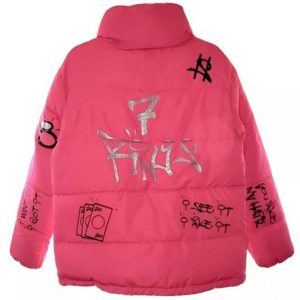7 Rings Ariana Grande Pink Puffer Style Jacket