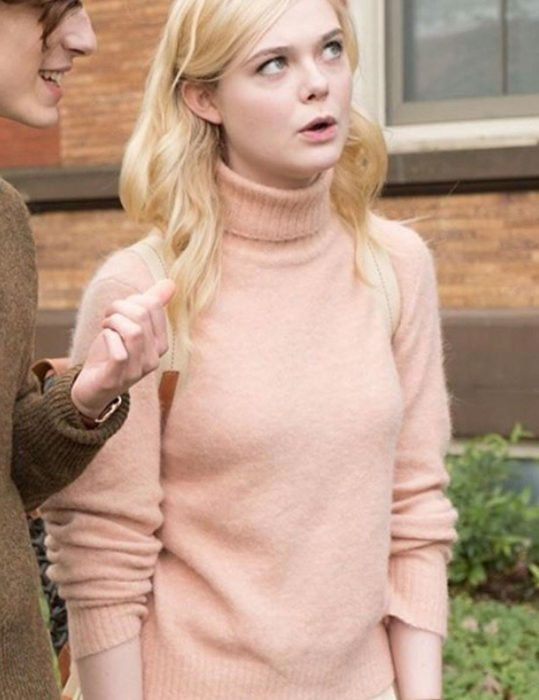 A Rainy Day In New York Elle Fanning Pink Sweaters
