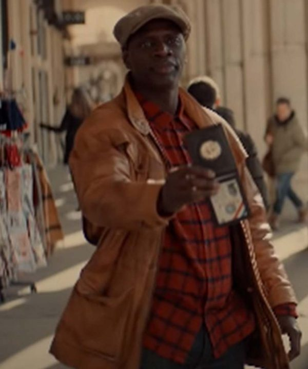 Arsene Lupin TV Series Assane Diop Omar Sy Brown Leather Jacket