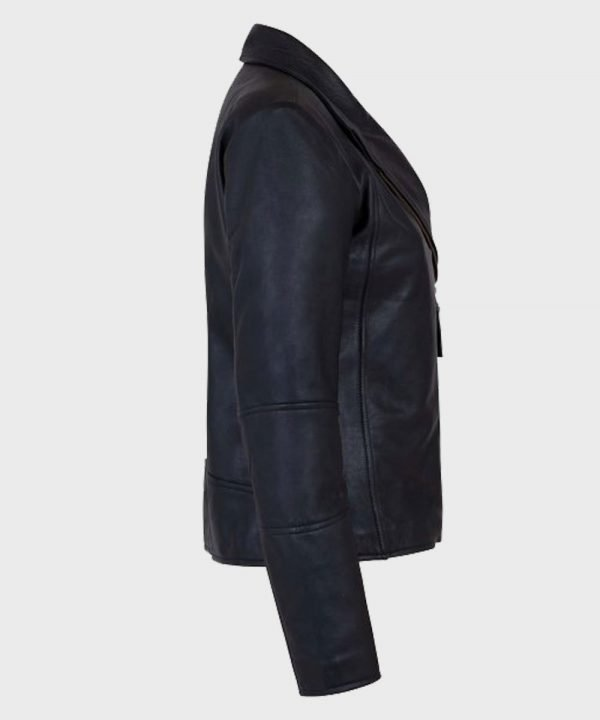 Women's Shawl Collar Black Leather Jacket