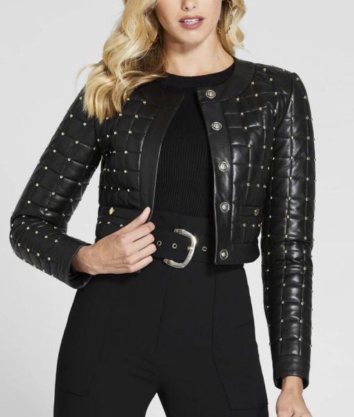 Product Specifications: External Material: Leather Internal Material: Viscose lining Collar: Round neck Cuffs: Open hem Pockets: Two waists Color: Black