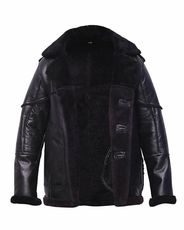Billy Russo Black Leather Shearling Coat
