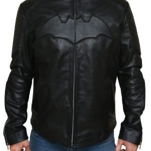 Christian Bale Batman Begins Bruce Wayne Black Leather Jacket
