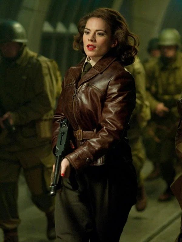 Hayley Atwell Captain America The First Avenger Peggy Carter Brown Leather Jacket