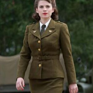 Peggy Carter Captain America The First Avenger Hayley Atwell Military Green Jacket