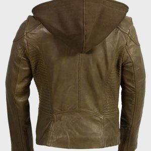 Womens Olive Motorcycle Leather Jacket