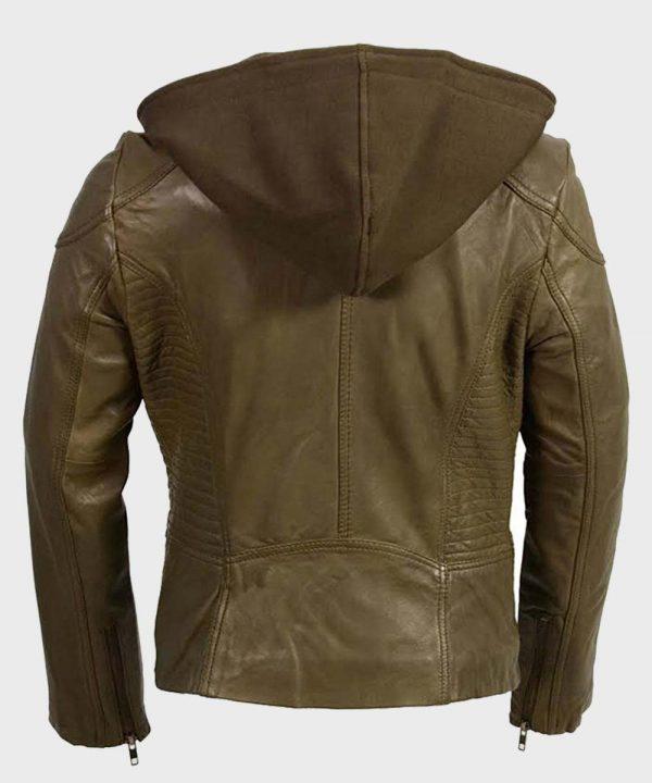 Womens Olive Motorcycle Leather Jacket