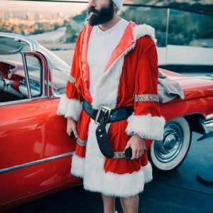 Santa Claus Dan Bilzerian Red Christmas Coat