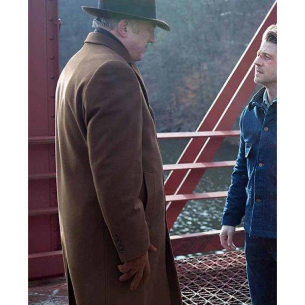John Doman Gotham Brown Trench Coat Hit Jacket