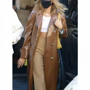 Hailey Bieber Brown Leather Coat1