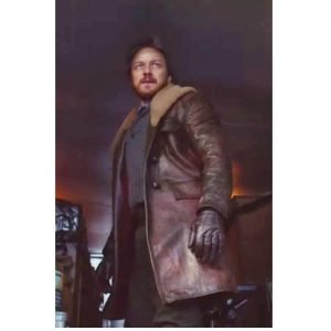 Lord Asriel His Dark Materials Leather Coat with Shearling Collar