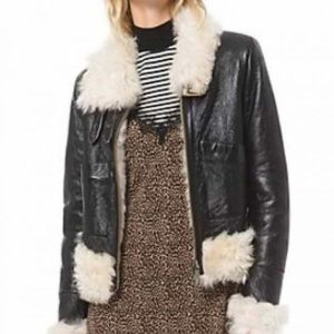 Itaewon Class Kim Da-Mi Leather Jacket with Shearling Trim Free Shipping