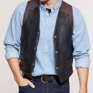 Mens Bison Leather Vest1