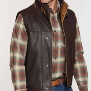 Mens Brown Lambskin Leather Vests