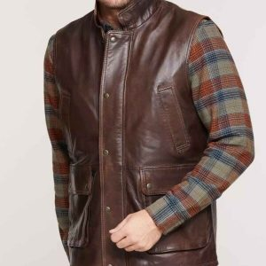 Mens Brown Lambskin Vest