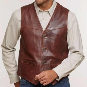 Mens Distressed Lambskin Vest - Brown Men Lambskin Leather Vests