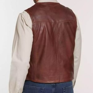 Mens Distressed Lambskin Vest - Brown Men Lambskin Leather Vest