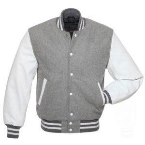Men's Grey Varsity WoolLeather Jacket2