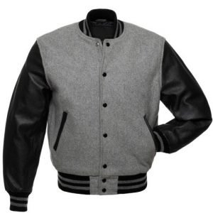 Men's Grey Varsity WoolLeather Jacket