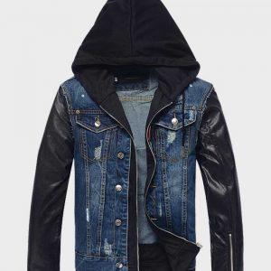 Mens Style Hooded Blue Denim Leather Jacket