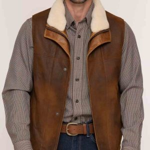 Mens Lambskin Shearling Leather Vests