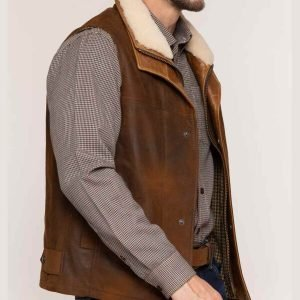 Mens Lambskin Shearling Leather Vest