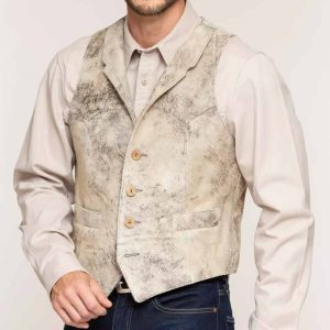Mens Lambskin Suede Leather Vests