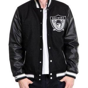 Men's Raiders Black Varsity Jacket1
