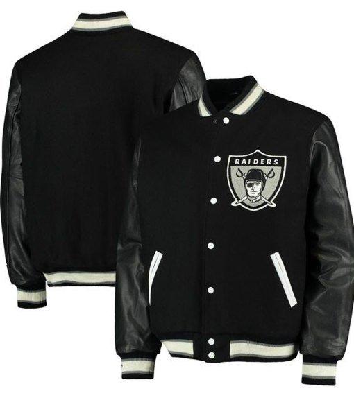 Men's Raiders Black Varsity Jackets