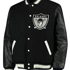 Men's Raiders Black Varsity Jacket
