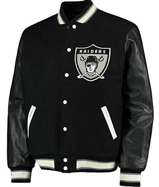 Men's Raiders Black Varsity Jacket