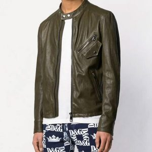 Slim Fit Cafe Racer Bomber Leather Jacket for Mens | Sale Price