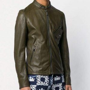 Mens Slimfit Cafe Racer Bomber Leather Jacket