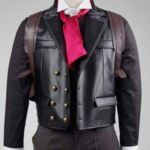 Booker Dewitt Bioshock Infinite Game Black Leather Vest- Hit Jackets